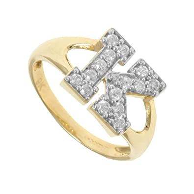 669a2f856 Jewelco London Ladies Solid 9ct Yellow Gold White Round Brilliant Cubic  Zirconia Pave Identity Initial Ring, Letter K: Amazon.co.uk: Jewellery