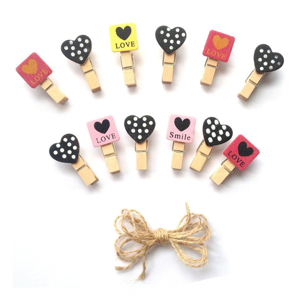 inférieur Crafts en bois Mini Pinces à linge Amour et cœur Tropical 24pièces et jute Cord 2, 4m 4m LWR Crafts