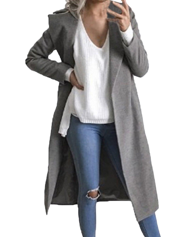 Auxo Women Trench Coat Long Sleeve Pea Coat Lapel Open Front Long Jacket Overcoat Outwear Grey US 6/Asian M by Auxo