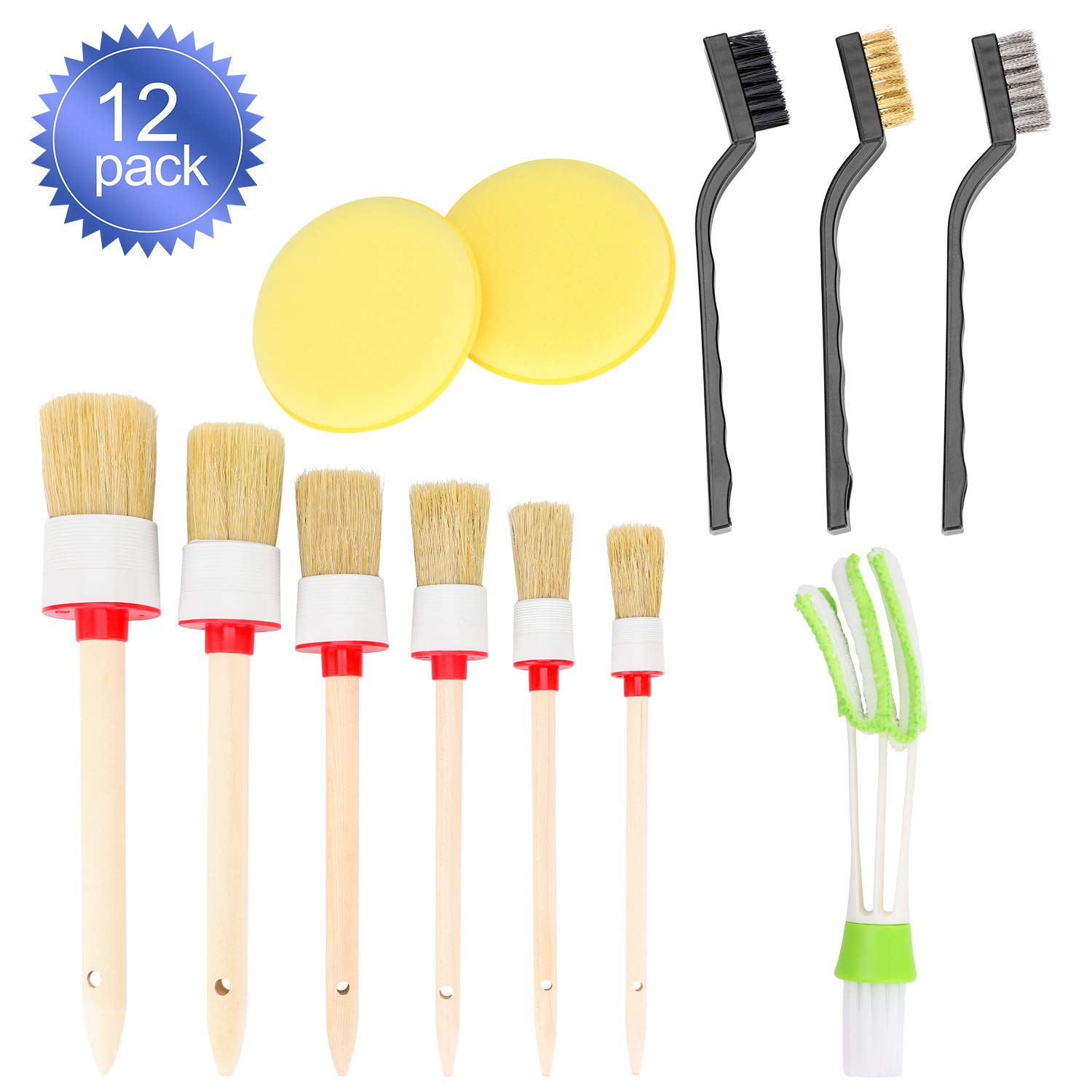 Oumers 12pcs Auto Detailing Brush Kit, Car Cleaning Brush Set Car Cleaning Tools Natural Hog Hair Brush Kit for Car Cleaning Vents, Dash, Trim, Seats, Wheels