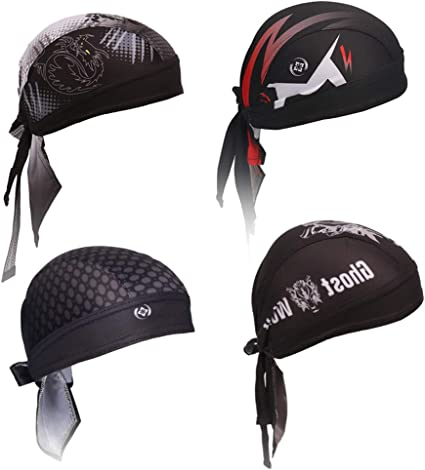IPENNY Quickly Dry Cycling Bandana Sun UV Protection Pirate Hat Adjustable Breathable Moisture Wicking Sports Headwear Running Beanie Skull Cap Sweat-Wicking Motorcycle Bike Cap Under Helmet Hat