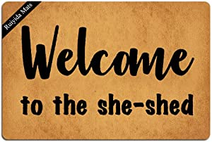 Ruiyida Welcome to The She Shed Doormat Custom Home Living Decor Housewares Rugs and Mats State Indoor Gift Ideas 23.6 by 15.7 Inch Machine Washable Fabric Top