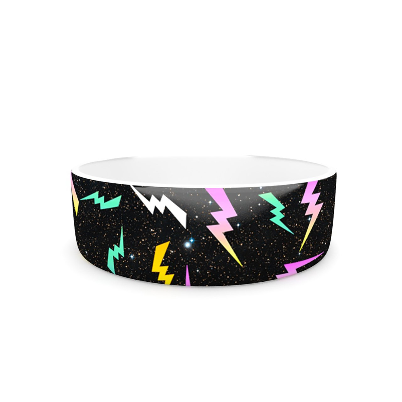 Kess InHouse Danny Ivan Bolt Pattern  Pet Bowl, 7-Inch, Black Lightning