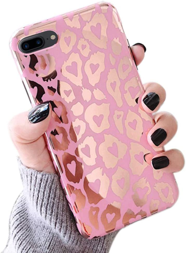 L-FADNUT Case for iPhone 7 Plus Case iPhone 8 Plus Leopard Cheetah Print Case Ultra Thin Shockproof Protective Soft TPU Back Rubber Shell Funcky Back Bumper Case Cover for iPhone 7 Plus iPhone 8 Plus