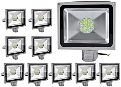 ALPHA DIMA 10pcs Foco LED 50W con Sensor de Movimiento,smd LED Luz de Inundación