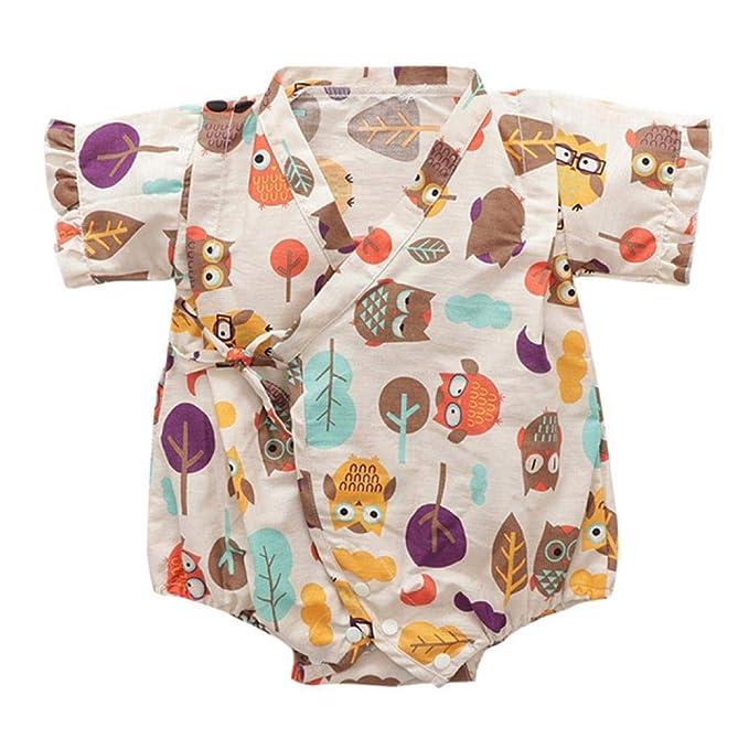 Bebé recién Nacido bebé niño niña Manga Corta Floral Kimono Mameluco ...