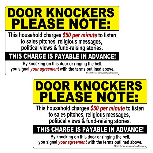 AZ House of Graphics Door Knockers Please Note $50 per Minute Stickers 2 Pack