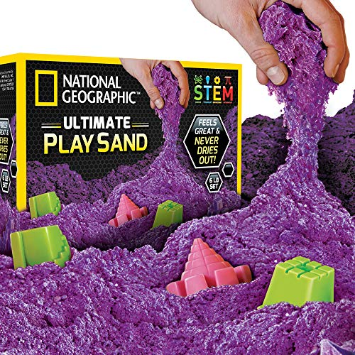 NATIONAL GEOGRAPHIC Play Sand - 6 LBS of Sand with Castle Molds (Purple) - A Kinetic Sensory Activity ()