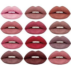 Lipstick set 12Pcs Matte Liquid Lipstick Madly Waterproof Long Lasting Matte Liquid Lipstick Beauty Lip