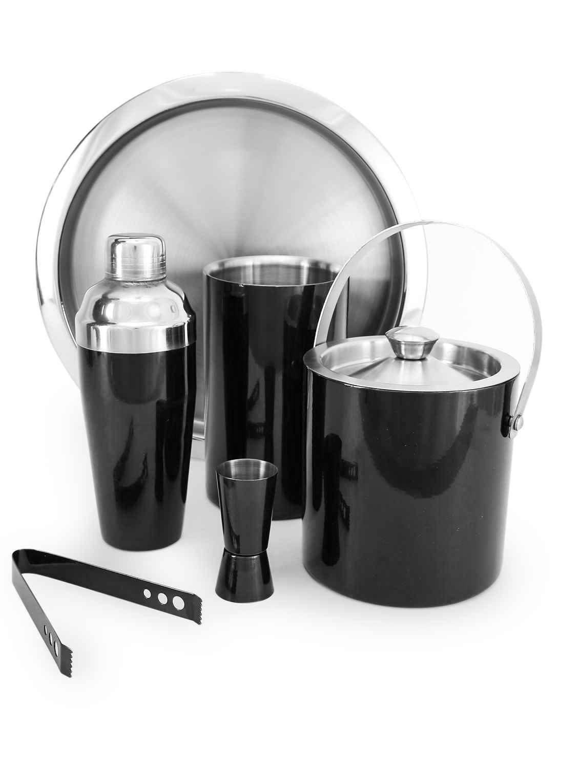 King International 100% Stainless Steel Black Bar Set,Bar Tools,Bar Accessories, 6 Pieces,Ice Bucket 1750 ml,Tong 16.5 cm,Cocktail Shaker 750 ml,Jigger 4.4 cm,Bar Tray,Wine Cooler 12 cm