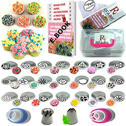50 Pcs Russian Piping Tips Set with Storage Case- 21 Numbered,Easy to Use Icing Nozzles,Pattern Chart,E.Book User Guide,Leaf & Ball Tip,2 Couplers,25 Bags.Extra Large cake, cupcake decorating Kit