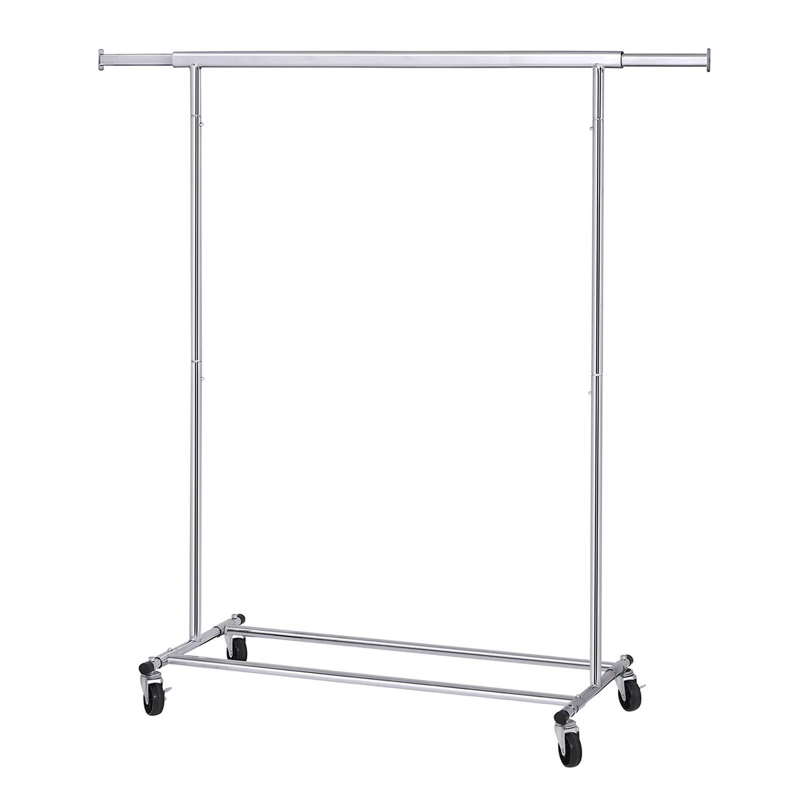 Songmics clothes garment rack with shelf on wheels maximum capacity 198 41lbs heavy duty clothing rack