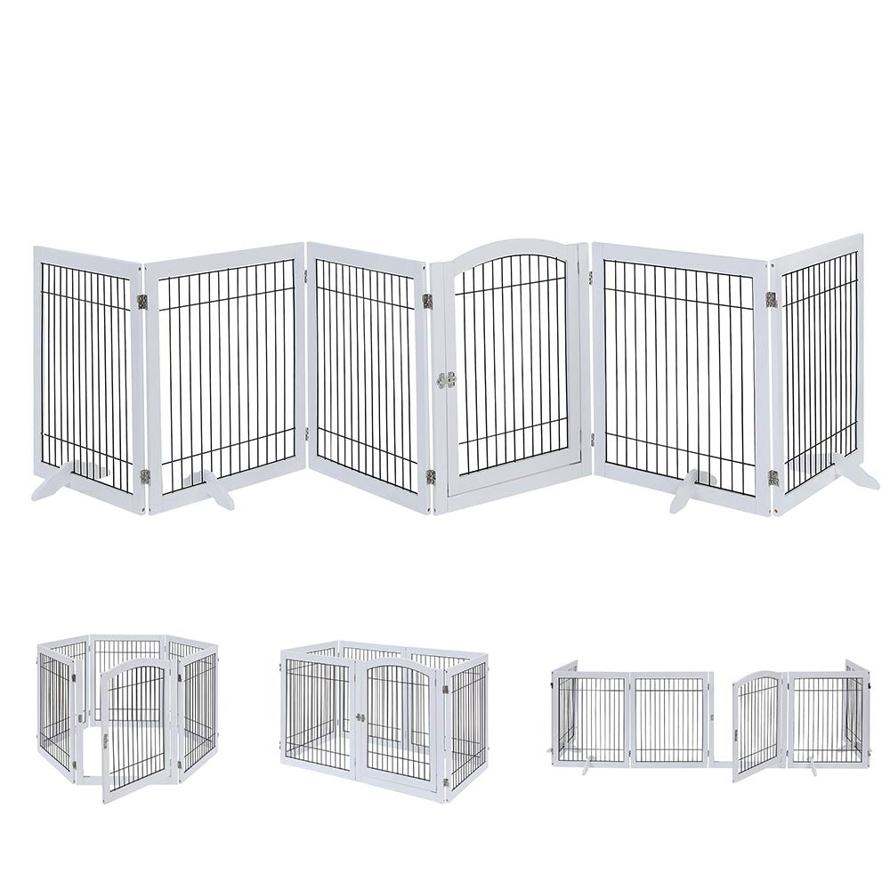 unipaws Pet Playpen with Wooden Construction & Wire, 6 Panels Freestanding Walk Through Dog Gate with 4 Support Feet, Foldable Stairs Barrier Pet Exercise Pen for Dogs Cats Pets, Safety Fence