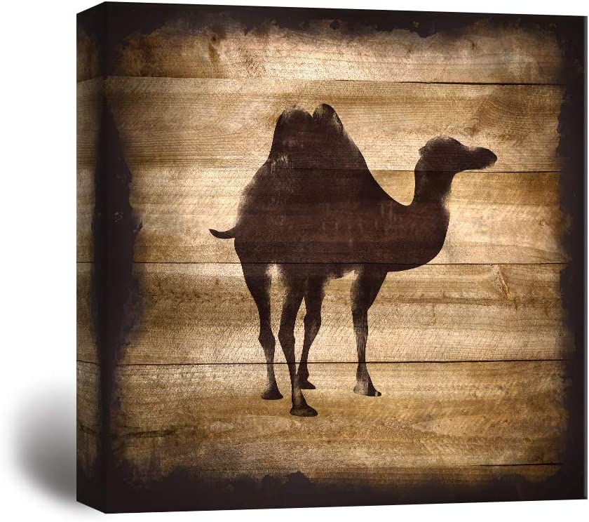 wall26 - Square Canvas Wall Art - Camel Silhouette on Rustic Wood Board Texture Background - Giclee Print Gallery Wrap Modern Home Decor Ready to Hang - 24x24 inches
