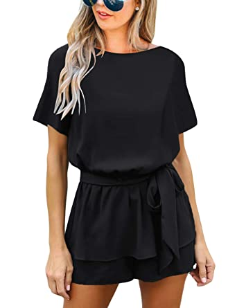 1757d7a0eaa7 luvamia Women s Casual Black Short Sleeve Belted Overlay Keyhole Back Jumpsuits  Romper Size Small (Fits