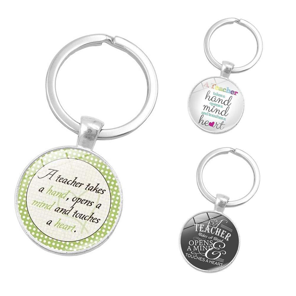 YSK1556 longyitrade Letters Round Glass Pendant Car Key Ring Holder Keychain Teachers Day Gifts