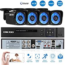 OWSOO 4CH Channel Full AHD 1080N 1500TVL CCTV Surveillance DVR Security System P2P Cloud Onvif Network Digital Video Recorder + 4720P Outdoor/Indoor Infrared Weatherproof Bullet Camera + 460ft Cable