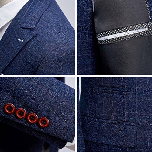 MAGE MALE Men's 3-Piece Suit Fine Lattice Pattern Business Suit Slim Single-Breasted Jacket Vest Pants Suit by MAGE MALE (Image #4)