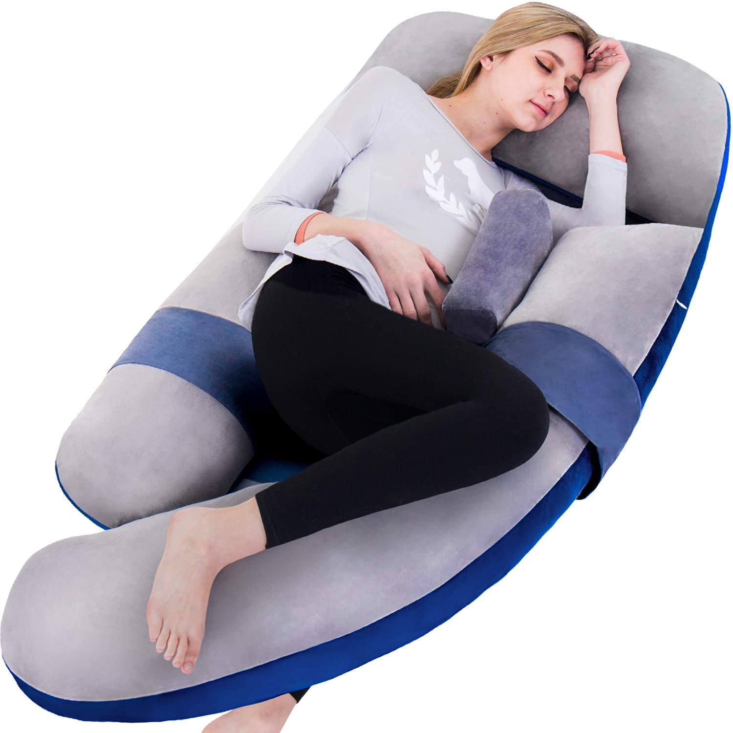 60in Full Body Pillow | Nursing, Maternity and Pregnancy Body Pillow |Awesling Extra Large U Shape Pillow and Lounger with Detachable Side, Separate Support Pillow and Removable Cover (Grey Blue)
