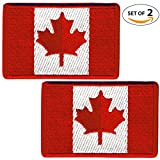 Set of 2 Canada Flag Embroidered Iron On and Sew On Morale Patch | Tactical Morale Patches Canada for Travel Backpack Hats Jackets Team Uniform and many more (Embroidered Red)