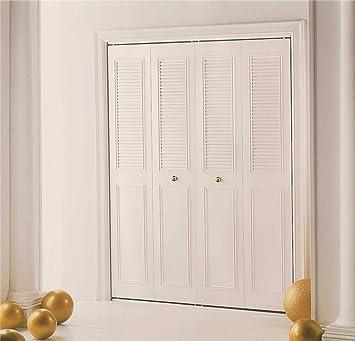 4 Panel Dunbarton Corporation 524186 Dunbarton The Classic Metal Bi-Fold Door 60X80 In. Ivory