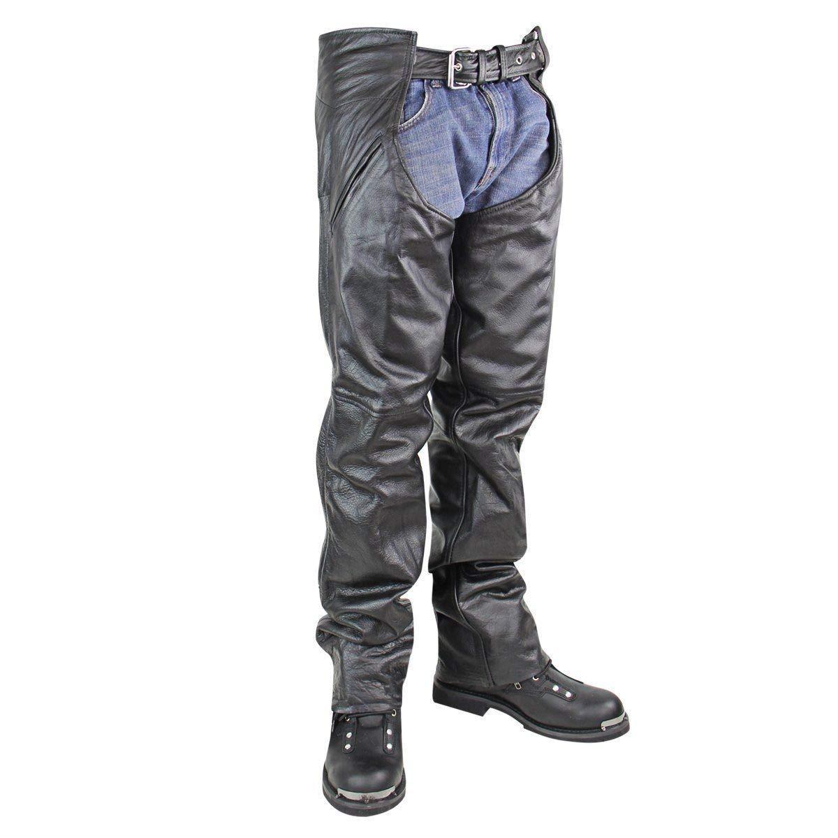 Xelement BXU3026CL 'Drifter' Men's Black Leather Chaps - 34