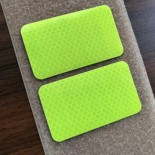 2 Pack 2x3.5 inch Extra Reflective Morale Fastener Patch Hook/Loop Hi Vis Patch for Safety (Fluor Yellow)