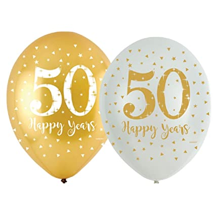 50th Wedding Anniversary Balloons Party Decorations Sparkling Gold