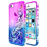 iPhone 5S Case, iPhone SE/iPhone 5 Case w/[Tempered Glass Screen Protector], NageBee Glitter Liquid Quicksand Waterfall Floating Flowing Sparkle Shiny Bling Diamond Girls Cute Case -Purple/Blue