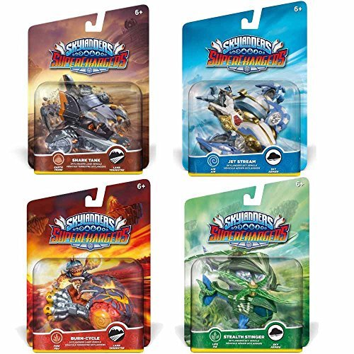 Skylanders Superchargers 4 Vehicle Bundle - Shark Tank, Burn Cycle, Jet Stream, Stealth Stinger by Skylanders