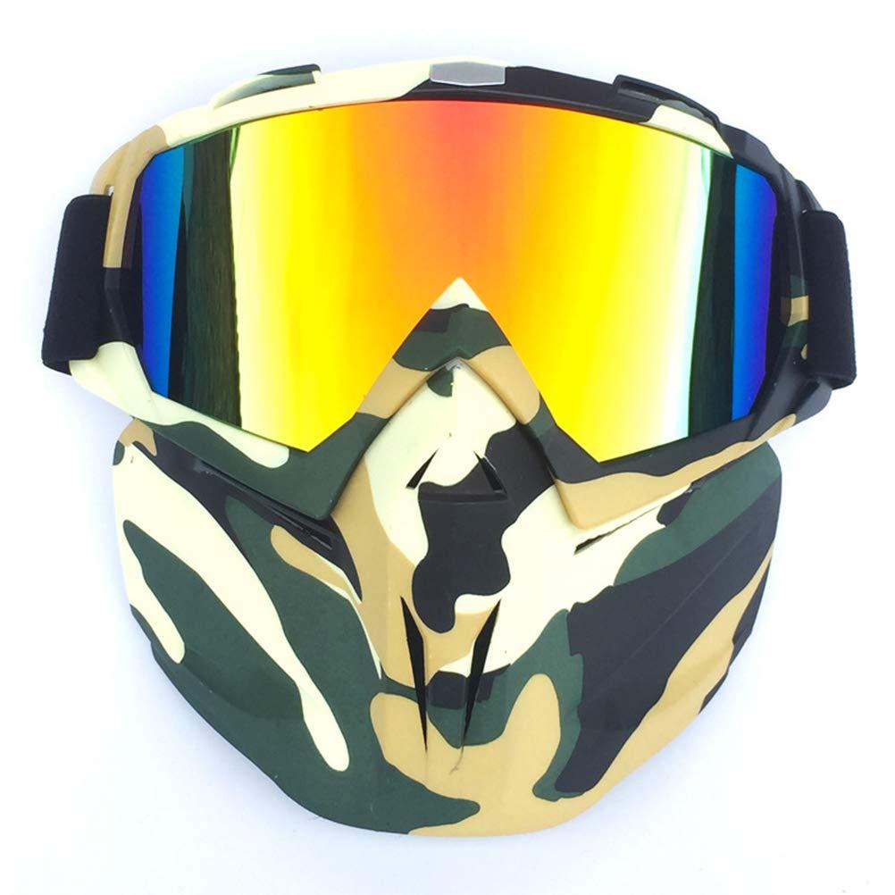 Occhiali da Cross Fuoristrada Yissma Maschera Antinfortunistica Rimovibile Maschera per mortasa e Supporto in Spugna per Casco da Aperto Motocross Sci Snowboard