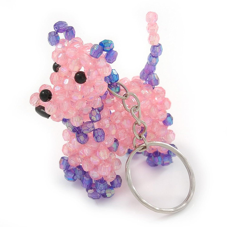 Pink/ Purple Glass Bead Scottie Dog Keyring/ Bag Charm - 8cm L