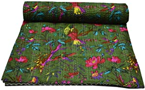 Indian-Shoppers Kantha Green Bird Print Cotton Blanket Indian Décor Bedding Reversible Room Quilt Queen Gudri 90108 Inches