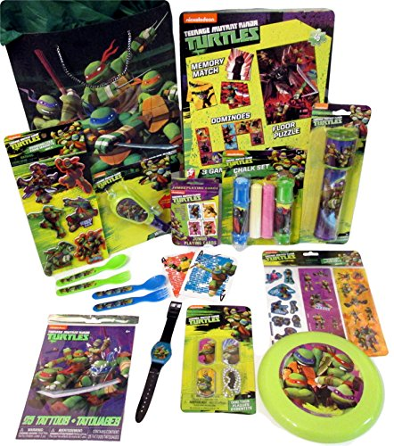 TMNT 12 Piece Birthday, Holiday or Get Well Gift Tote Bag Bundle Features Teenage Mutant Ninja Turtles Toys and Games for Boys Ages 3-6