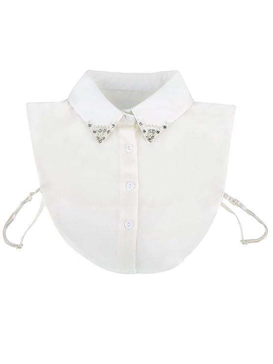 Abnehmbare Kragen Dickey Kragen Blusenkragen Hemdkragen Shirt Falsche Kragen  mit Strass und Perle für Damen, Weiß  Amazon.de  Bekleidung 987f63e9f7