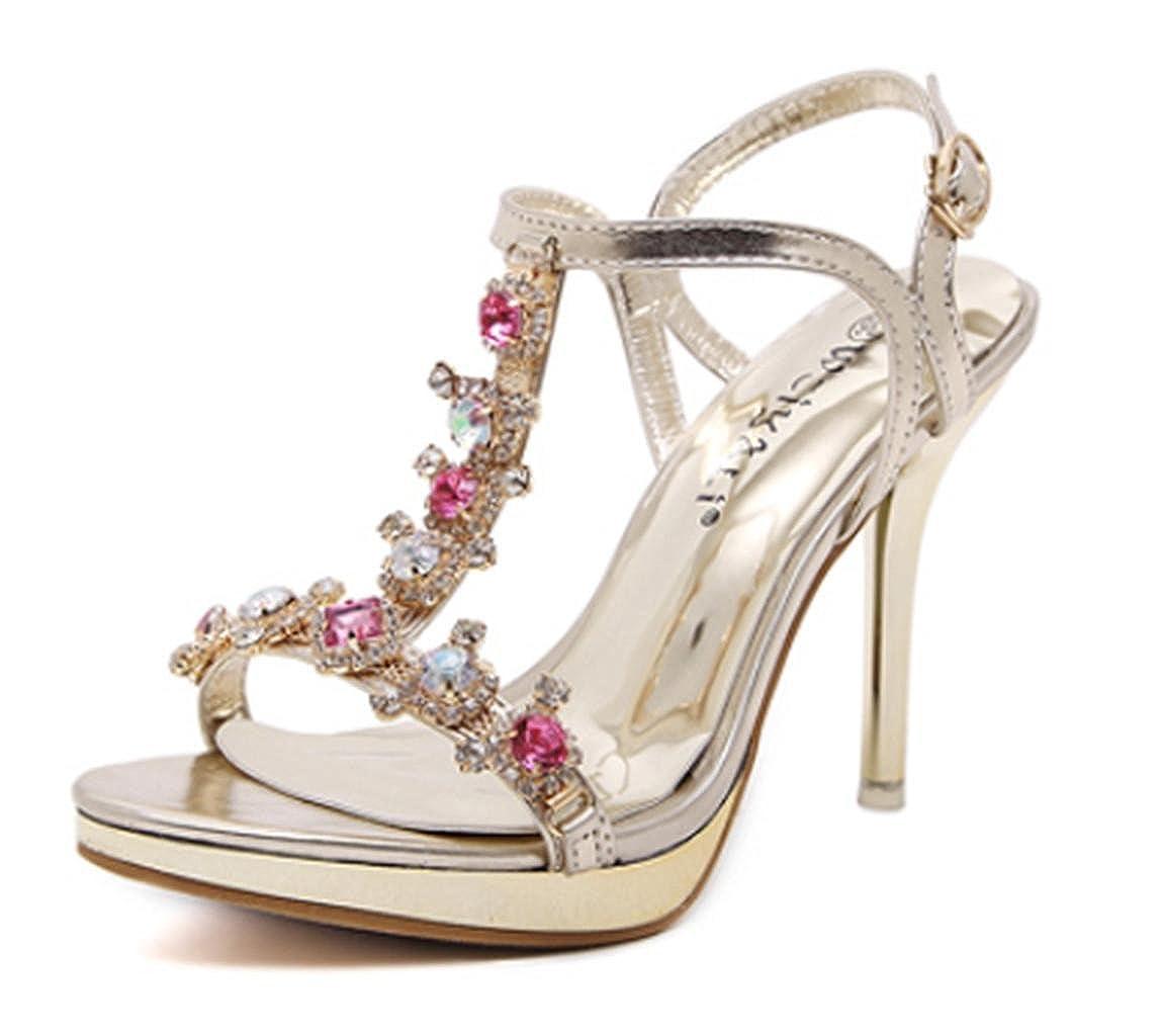 33adbf1babd GZD Shoes High Heels Sandals Summer Color Rhinestones Gold Hollow ...