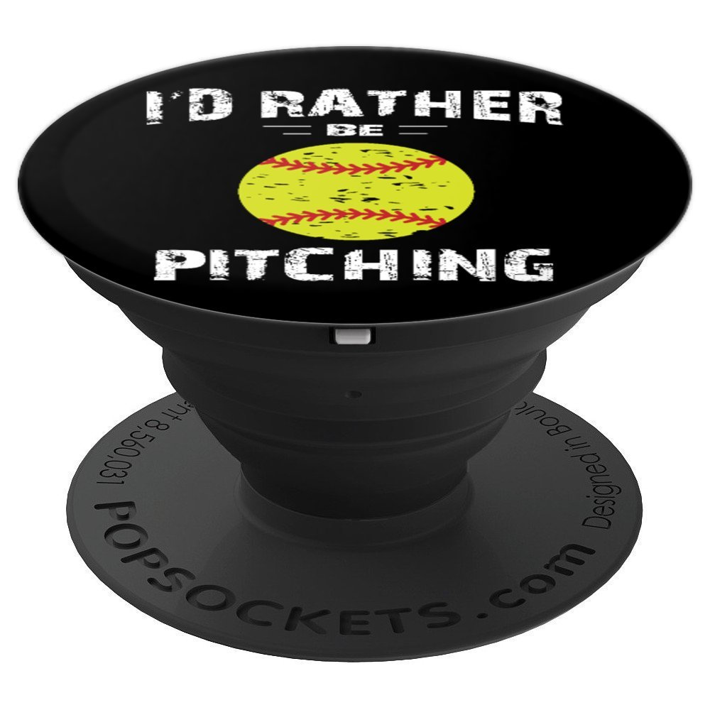 I'd Rather Be Pitching Gift for Softball Pitcher - PopSockets Grip and Stand for Phones and Tablets