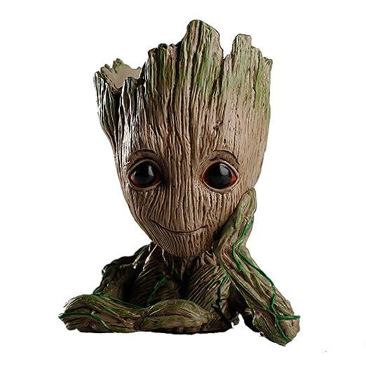 HE ZE Groot Maceta Galaxy Guardia bebé Groot Escritorio decoración ...