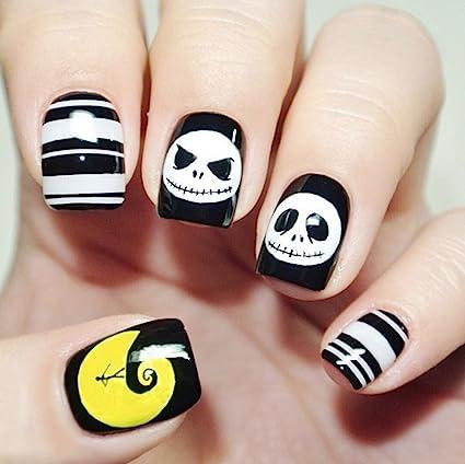 aukmla uñas postizas corto 24 pcs Hallween Artificial Nails funda completa calavera amarillo luna uñas accesorios