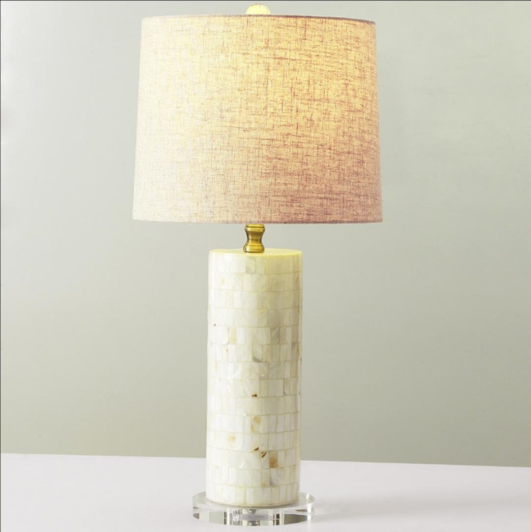 Weiße Schale Tischlampe Kristall Tischlampe Schlafzimmer Wohnzimmer Hotel der gehobenen Klasse Clubs Nachttischlampe Stoffzylinder (ohne Lichtquelle)