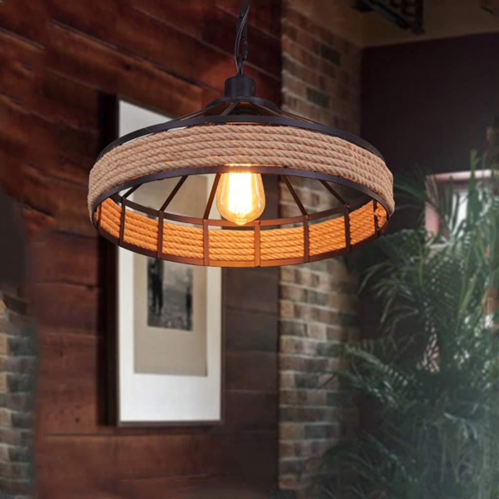 シャンデリア HJBH高品質メタルシャンデリアアメリカンカントリーランプレトロクリエイティブリビングルームランプ牧歌的な麻ロープ工業カフェレストランランプ直径45センチ*高25センチ(黒) 写真シャンデリア家庭用照明、スタイリッシュで美しい   B07RTRLPVV
