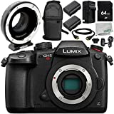 Panasonic Lumix DC-GH5S Camera with Metabones MB_SPEF-M43-BT3 Speed Booster XL 0.64x Adapter 9PC Accessory Bundle – Includes 64GB SD Memory Card + MORE - International Version (No Warranty)