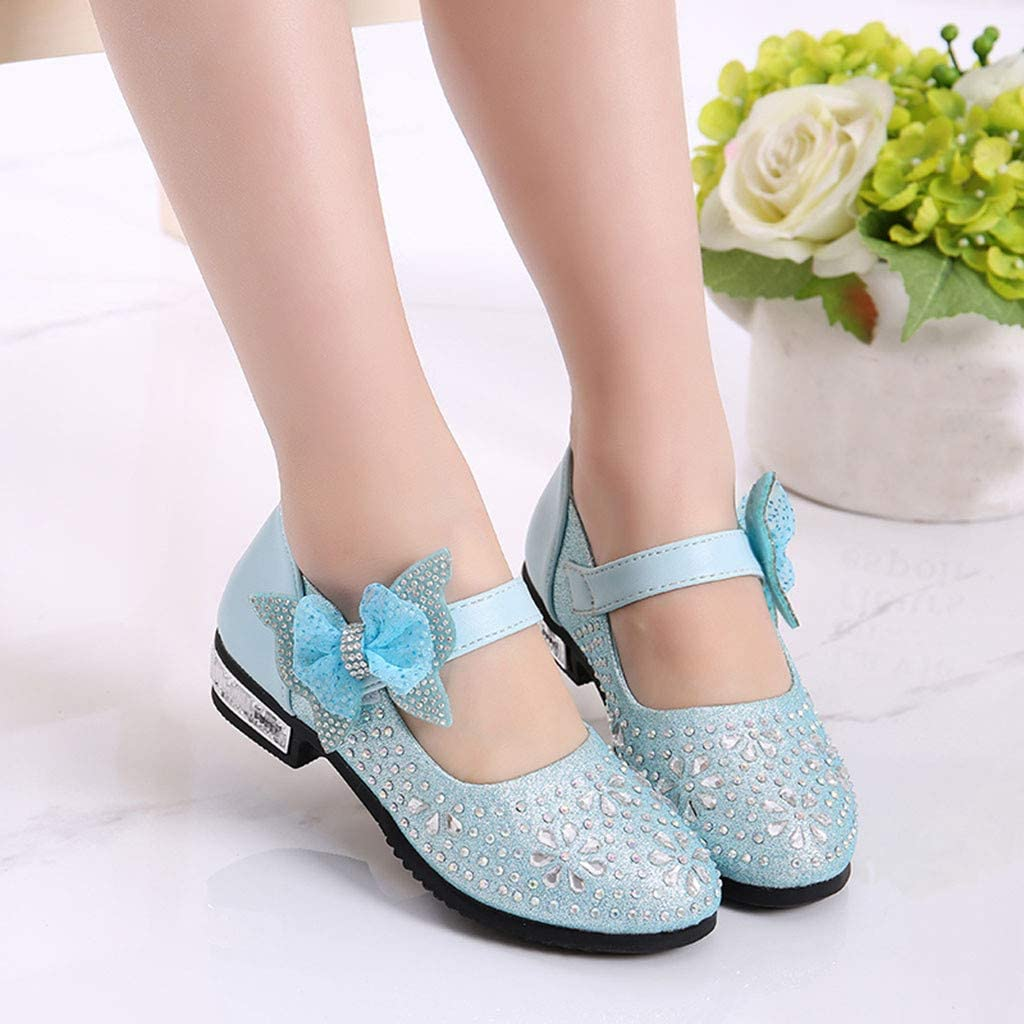 Little Girls Princess Shoes with Rhinestones Bowknot Leather Glitter Low Block Heel Single Shoes Velcro Sparkle Mary Jane Shoes Princess Party Dress Shoes for Toddlers /& Girls