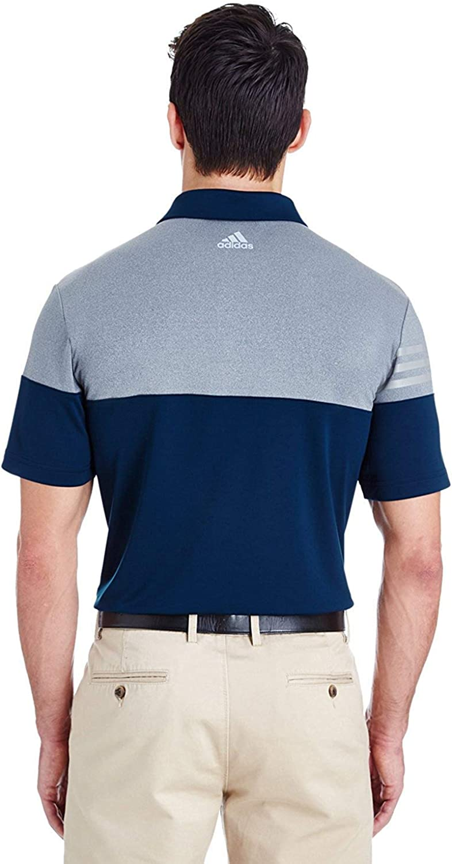 adidas A213 Heather 3-Stripes Block Sport Shirt Navy/ Grey