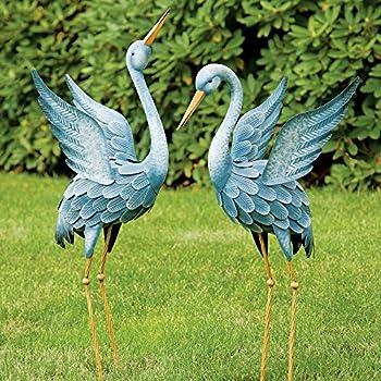 Bits and Pieces - Japanese Blue Heron Metal Garden Sculpture Set - Two Metal Cranes Perfect for Garden Décor - Metal Garden Art, Outdoor Lawn and Patio Décor, Backyard Sculpture, and Decoration.