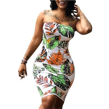 Vivosky Women Floral Print Plus Size Strapless Bandage Dress At