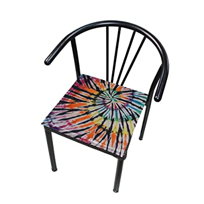 """Bardic HNTGHX Outdoor/Indoor Chair Cushion Swirl Tie Dye Pattern Square Memory Foam Seat Pads Cushion for Patio Dining, 16"""" x 16"""": Home & Kitchen"""