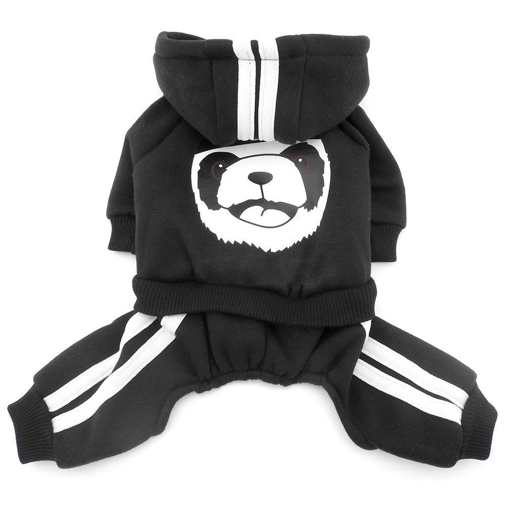 Smalllee Lucky Store Tuta intera in pile con cappuccio per cani piccoli, es. chihuahua, unisex, motivo: panda, spessa e calda YP0194-black-XS