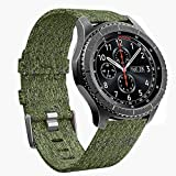 Gear S3 Frontier/Classic Bands - 22mm Quick Release Premium Woven Nylon Sports Strap Wrist Band with Stainless Steel Metal Buckle for Samsung Gear S3 Smart Watch by Olytop (Woven/Army Green)