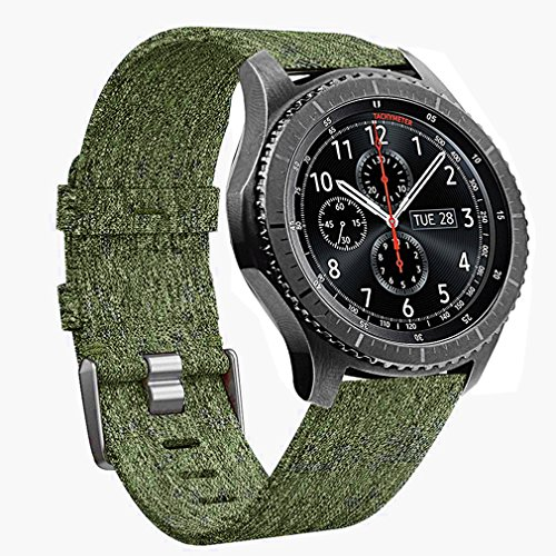 Gear S3 Frontier/Classic Bands - 22mm Quick Release Premium Woven Nylon Sports Strap Wrist Band with Stainless Steel Metal Buckle for Samsung Gear S3 Smart Watch by Olytop (Woven/Army Green) by Olytop